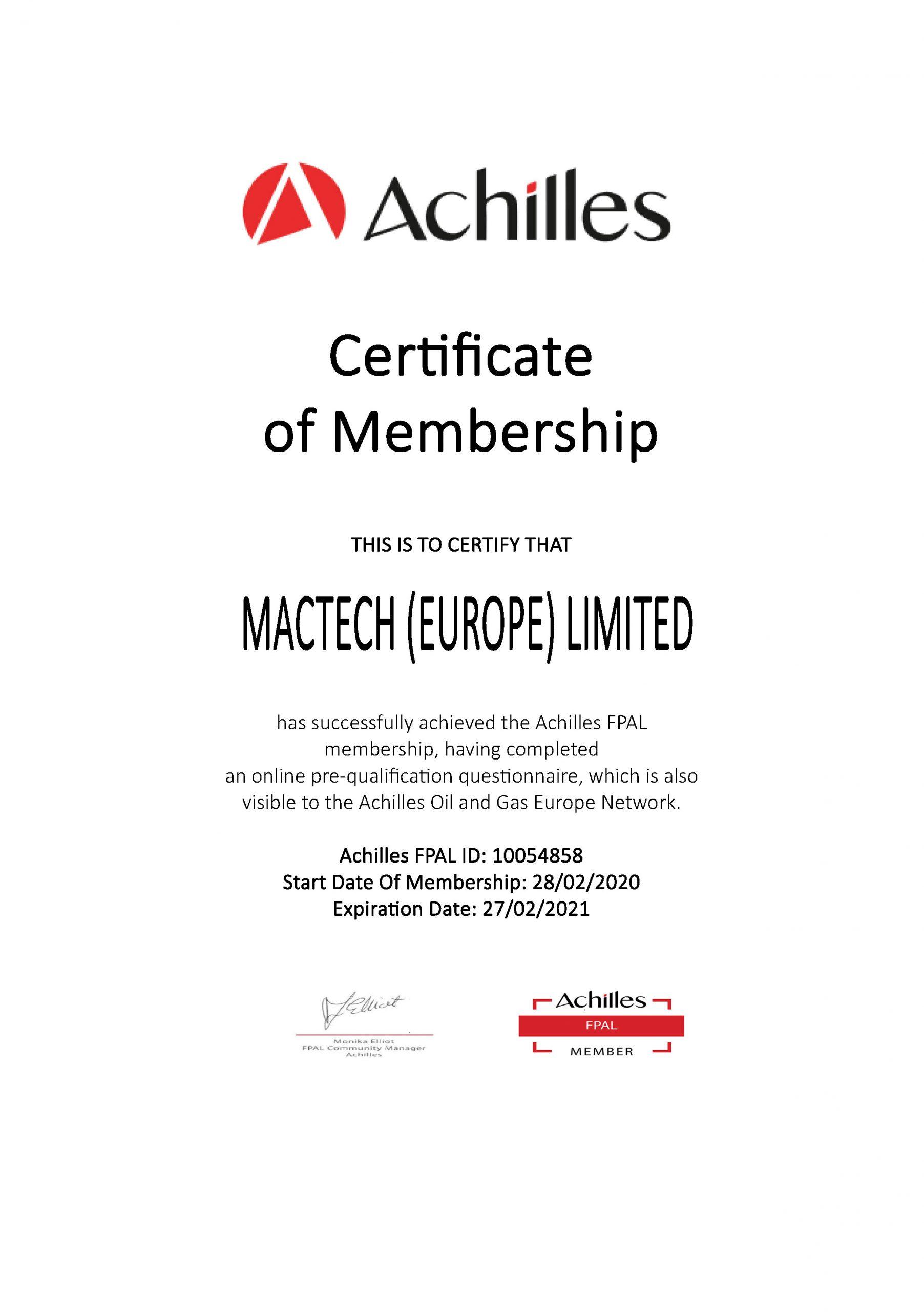 Achilles FPAL Certificate exp. 27.02.2021